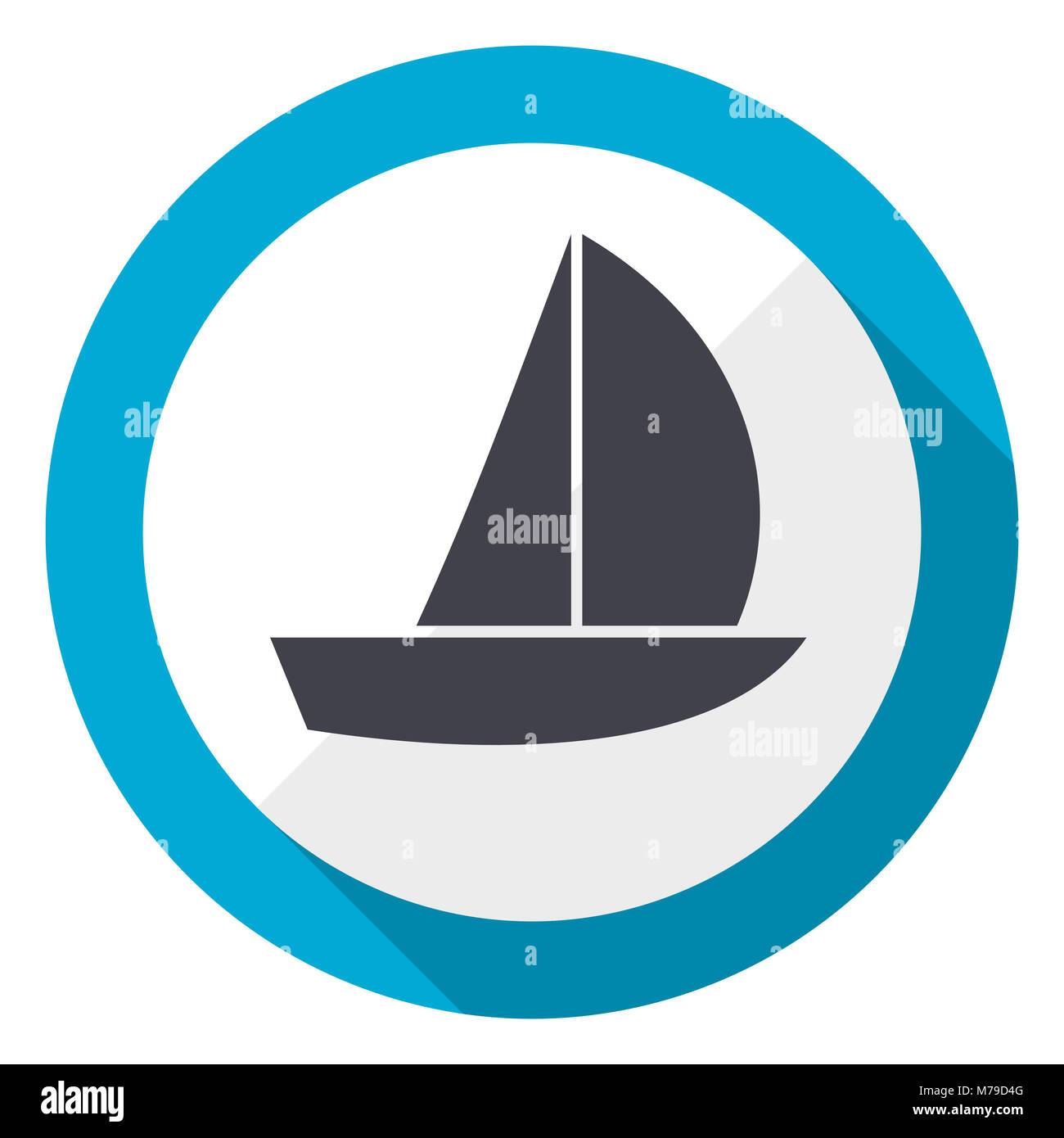 Yacht blue flat design web icon - Stock Image