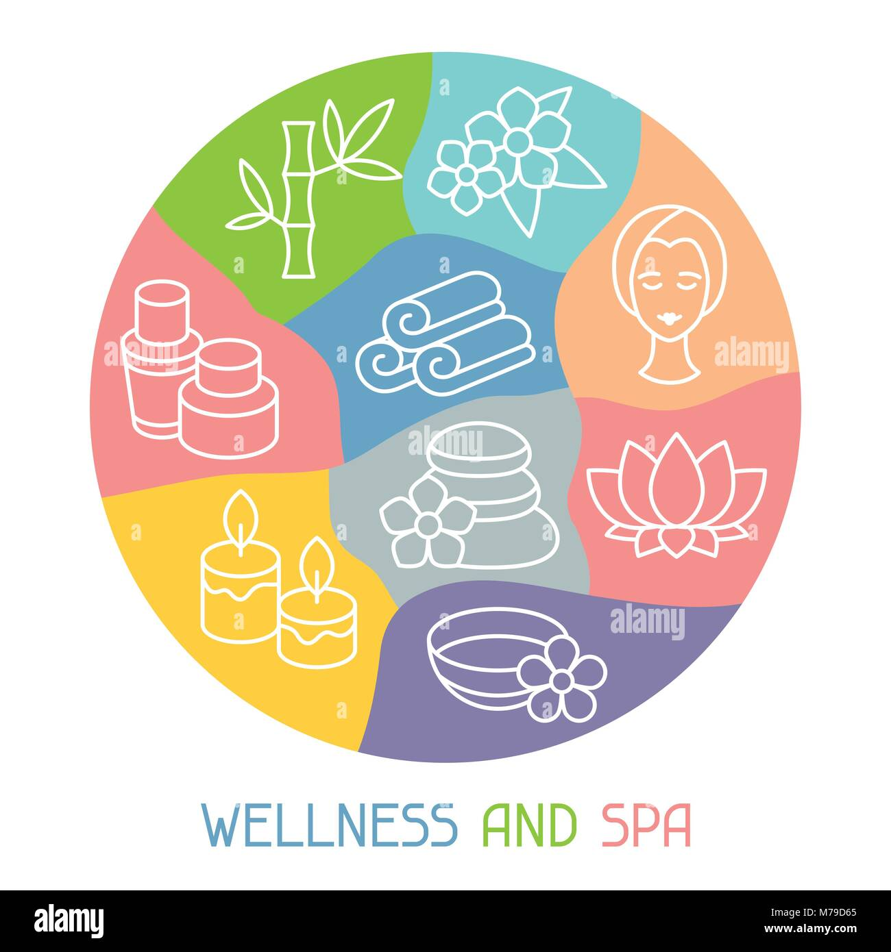 Spa and recreation background with icons in linear style - Stock Vector
