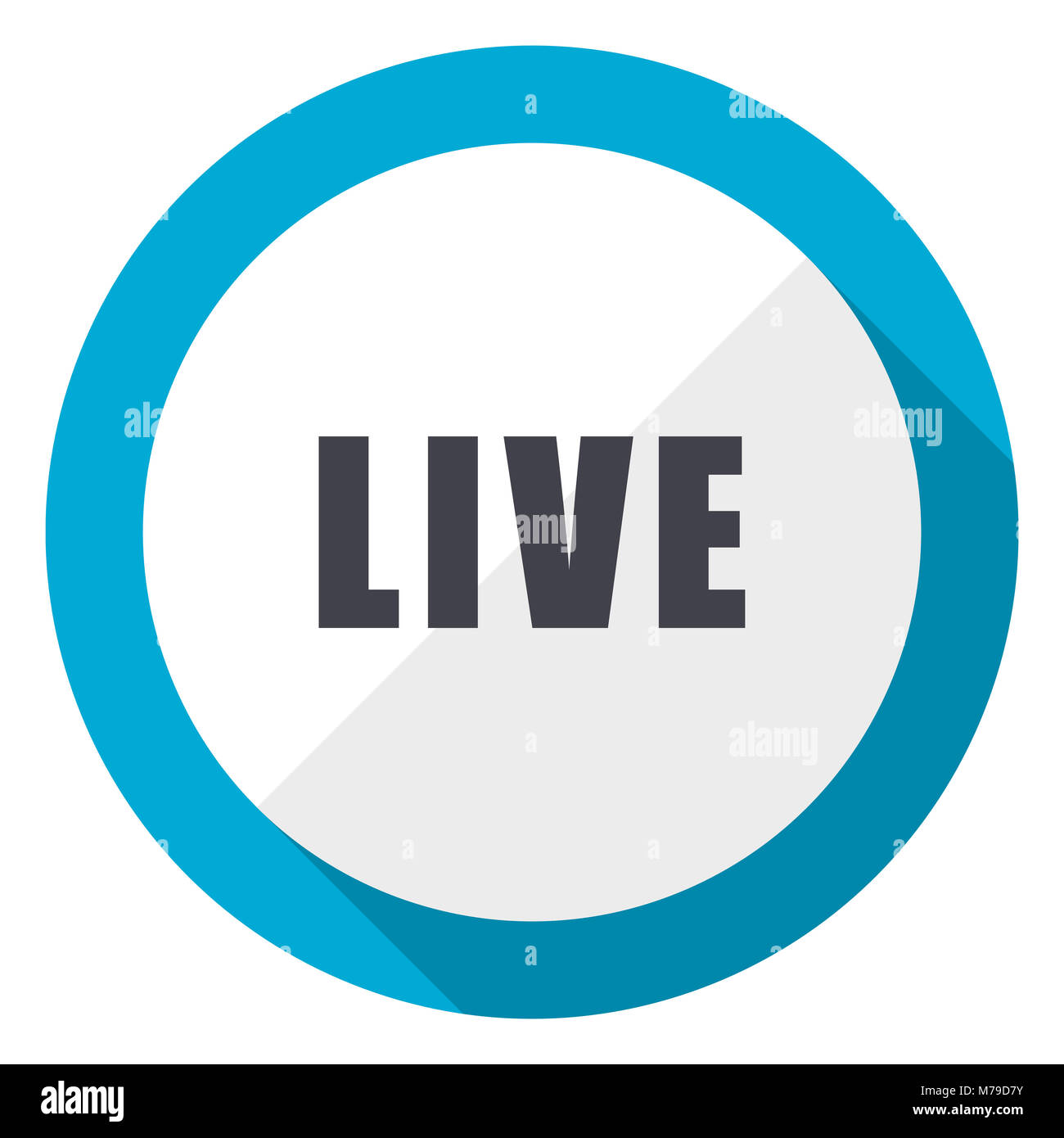 Live blue flat design web icon - Stock Image