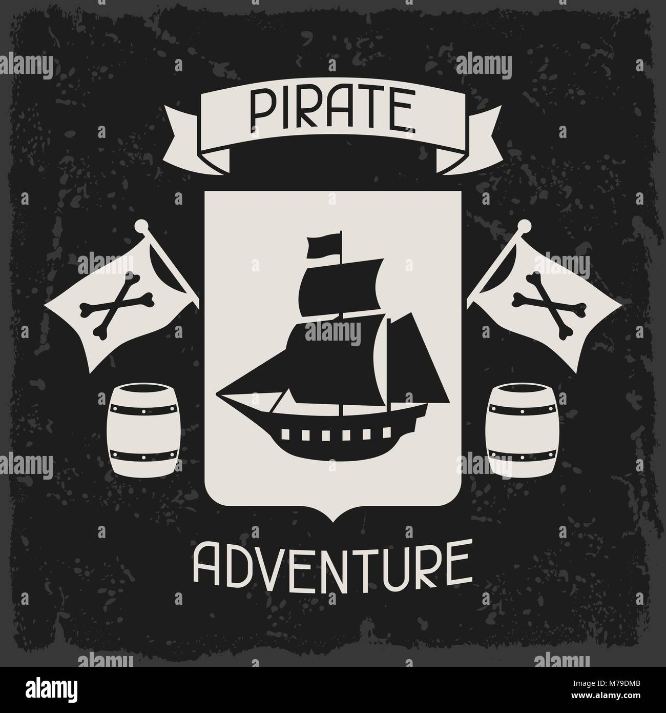 Background on pirate theme with objects and elements Stock Vector