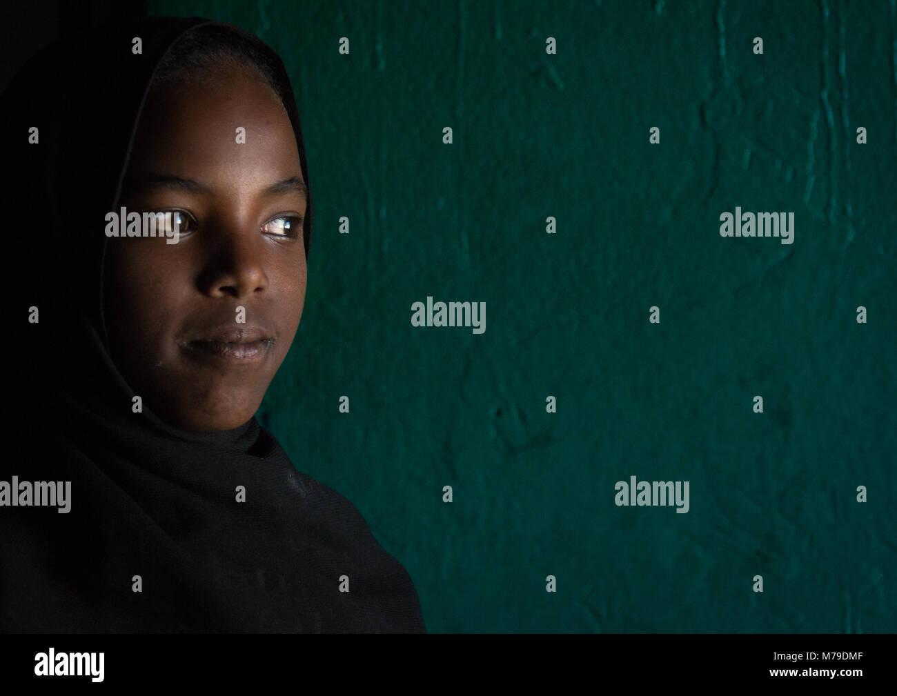 Sufi girl, Harari region, Harar, Ethiopia - Stock Image