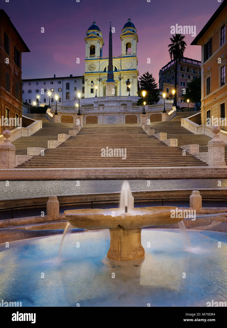 Rome, Italy - October 13, 2016: Spanish Steps at sunrise in Rome, Italy - Stock Image