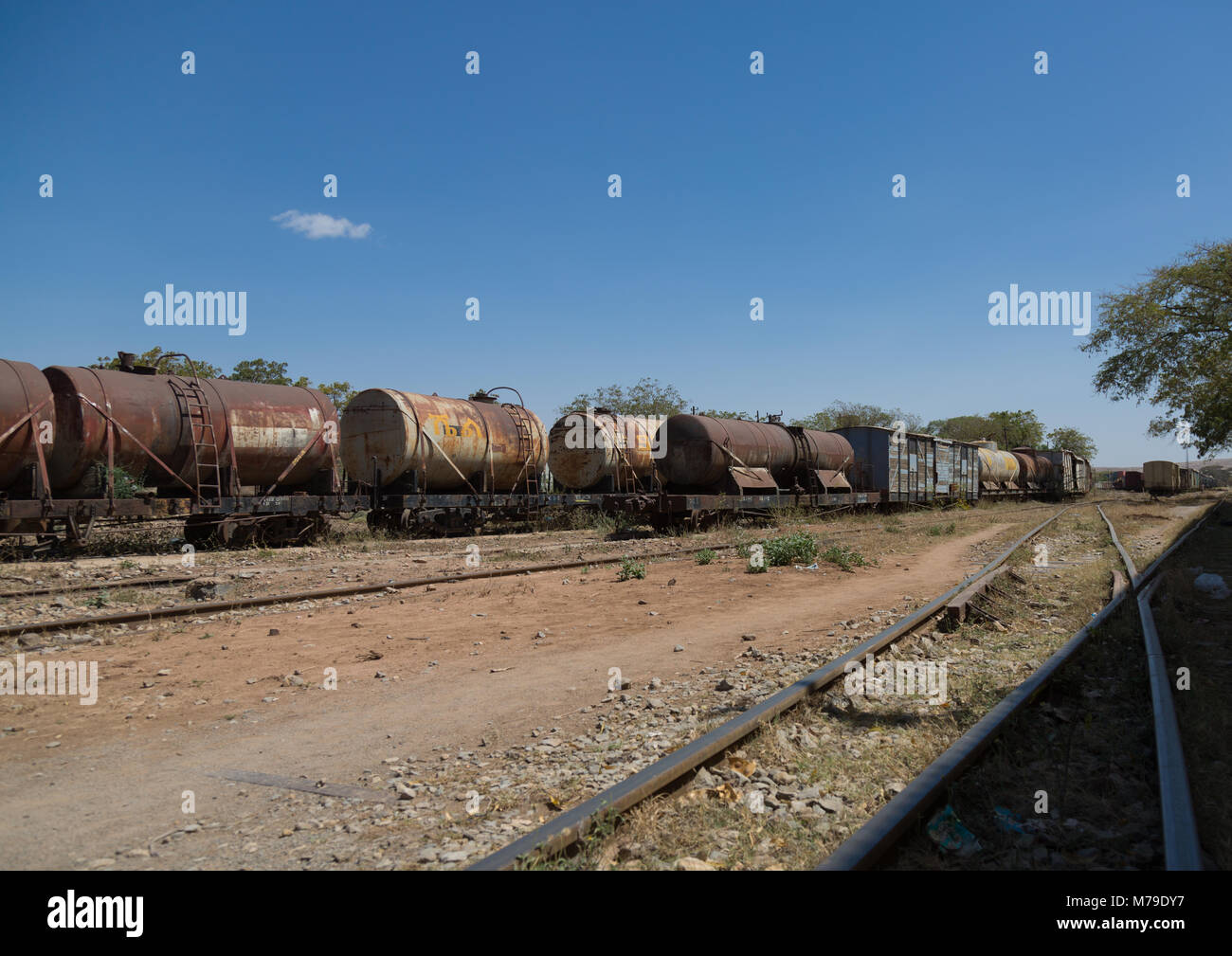 Tracks of the ethio-djibouti railway station, Dire dawa region, Dire dawa, Ethiopia - Stock Image