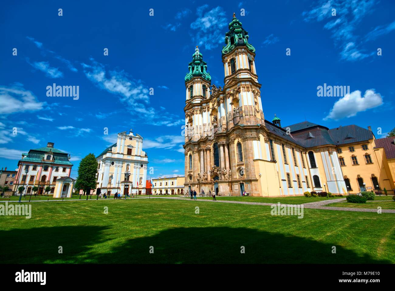 Baroque style Basilica of the Assumption of the Blessed Virgin Mary in Krzeszow, Poland. The church is a part of Stock Photo