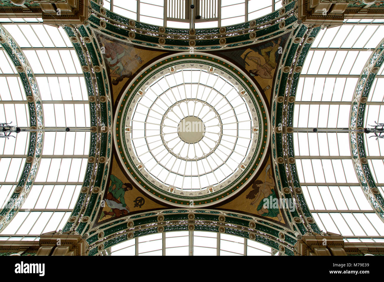 Glass Cupola in the County Arcade shopping gallery in Leeds, UK. The restored Victorian shopping centre is part - Stock Image