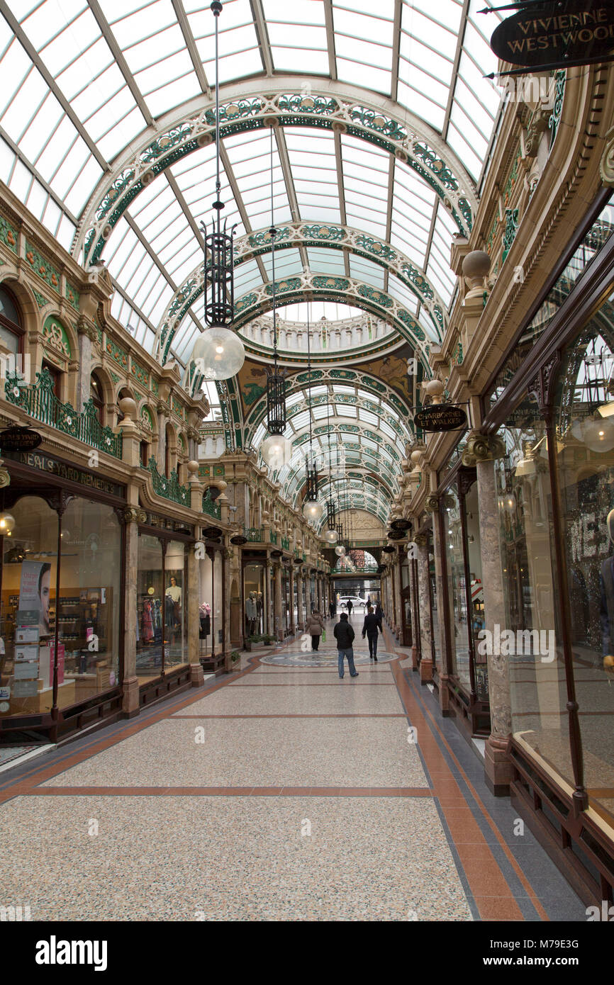 The County Arcade shopping gallery in Leeds, UK. The restored Victorian shopping centre is part of the city's - Stock Image