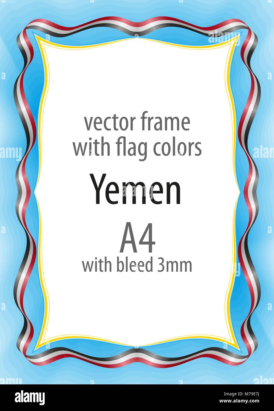 Frame and border of ribbon with the colors of the Yemen flag Stock Vector