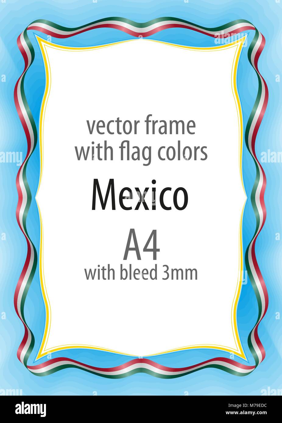 frame and border of ribbon with the colors of the mexico flag stock