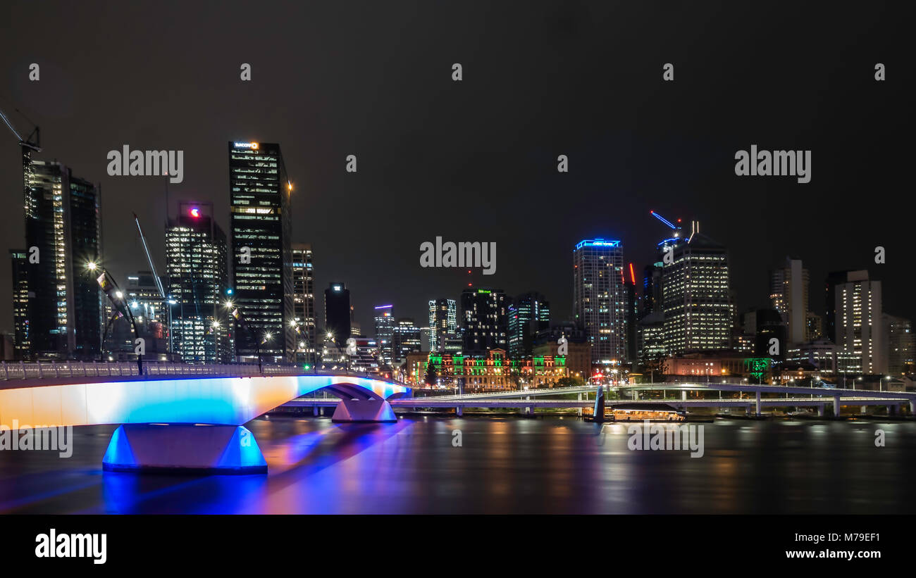 Skyline of Brisbane Downtown at night - Stock Image