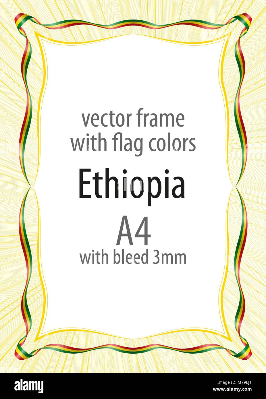 Frame and border of ribbon with the colors of the Ethiopia flag - Stock Vector