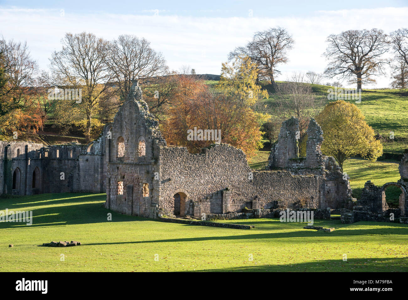 Fountains Abbey situated in Ripon North Yorkshire England UK. National Trust - Stock Image
