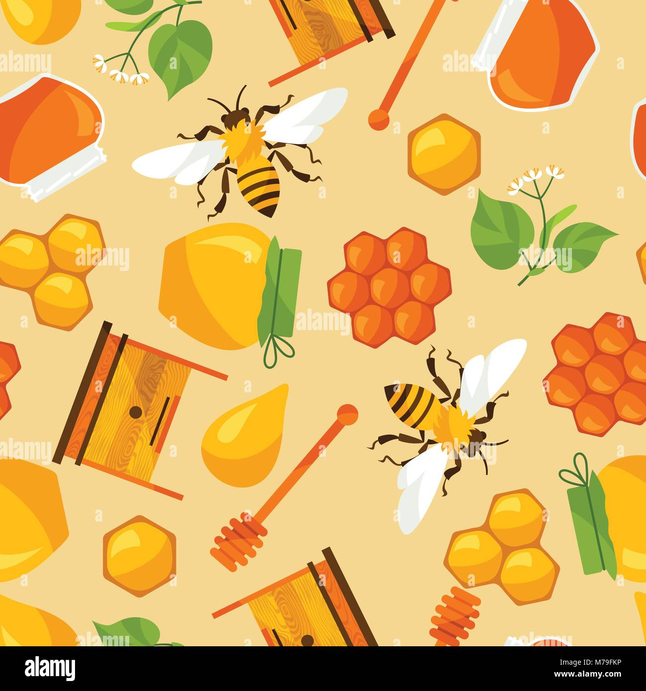 Seamless pattern with honey and bee objects - Stock Vector