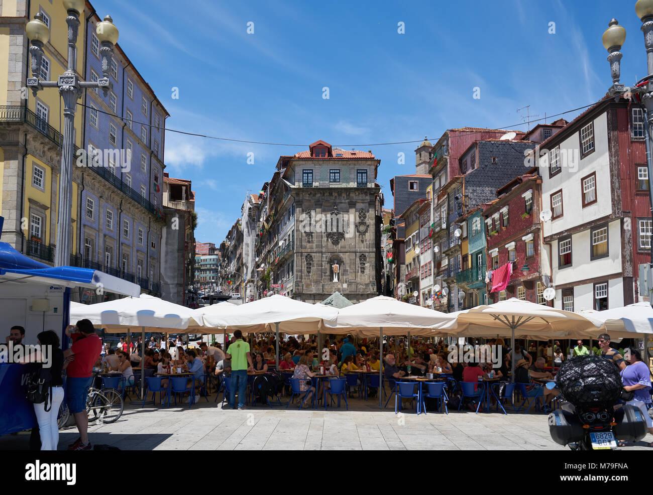 Porto, Portugal - June 20, 2016: Restaurants in the Ribeira area in Porto, Portugal - Stock Image
