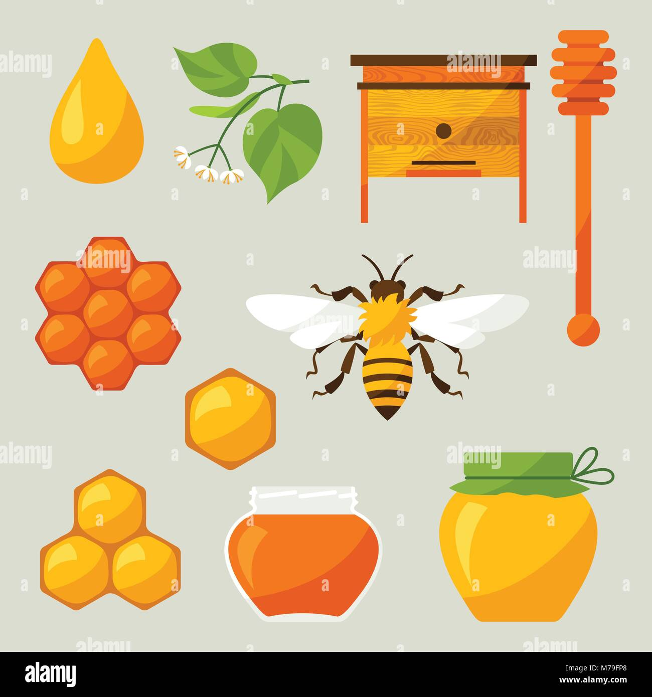 Set of honey and bee objects - Stock Vector