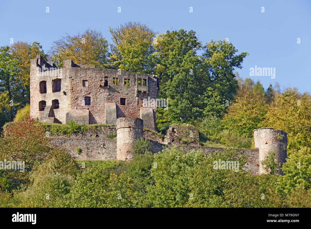 Germany, Hessen, Beerfelden, district Gammelsbach, first mentioned 772, castle ruin Freienstein, 12. century, - Stock Image