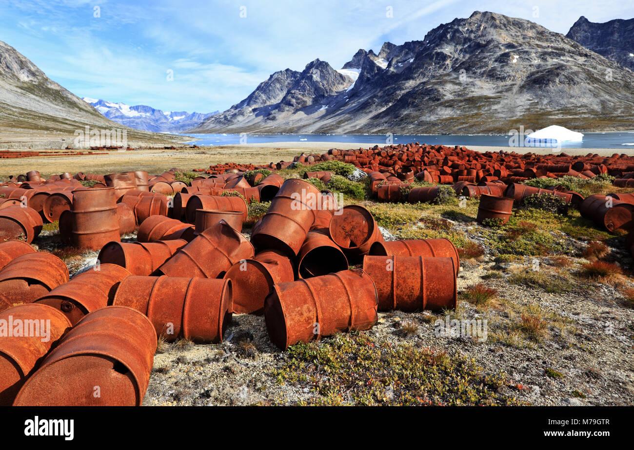 Greenland, East Greenland, area of Ammassalik, the former US military base, military base, oil barrels, garbage, - Stock Image