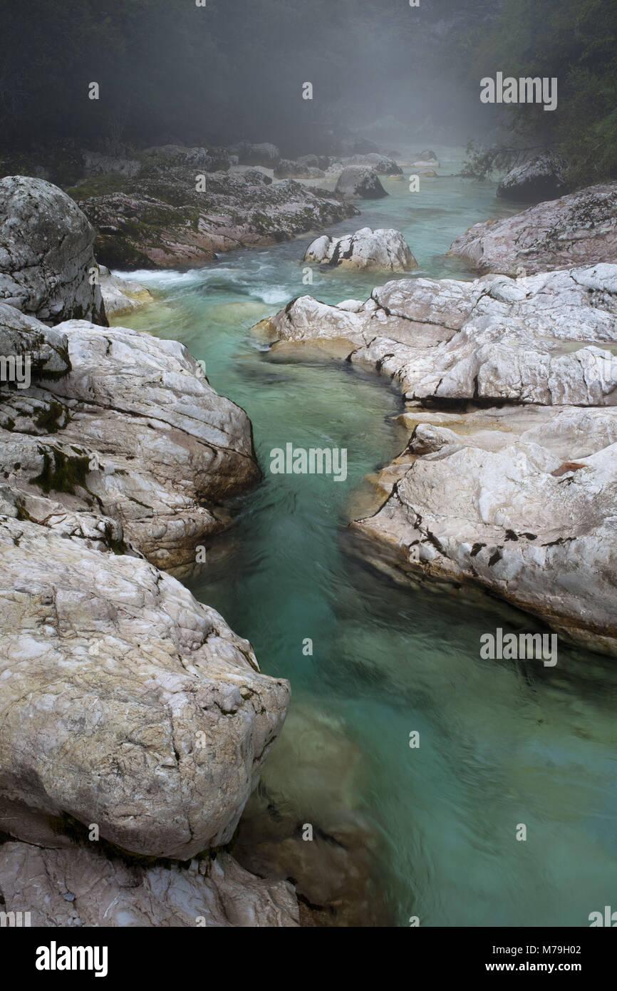river Soca in the upper reaches, Julian Alps, Slovenia, - Stock Image