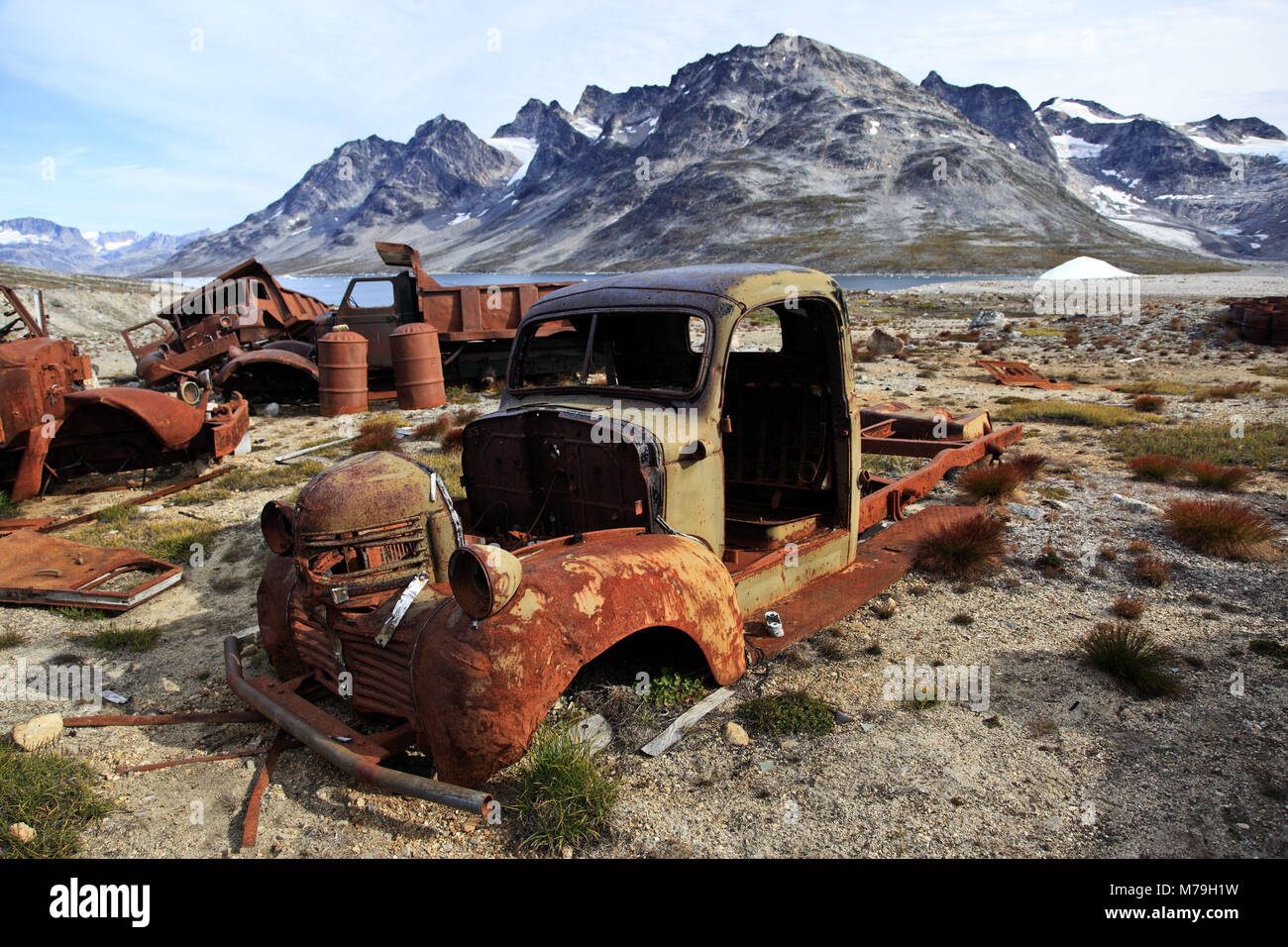 Greenland, East Greenland, area of Ammassalik, the former US military base, military base, scrap metal, garbage, - Stock Image