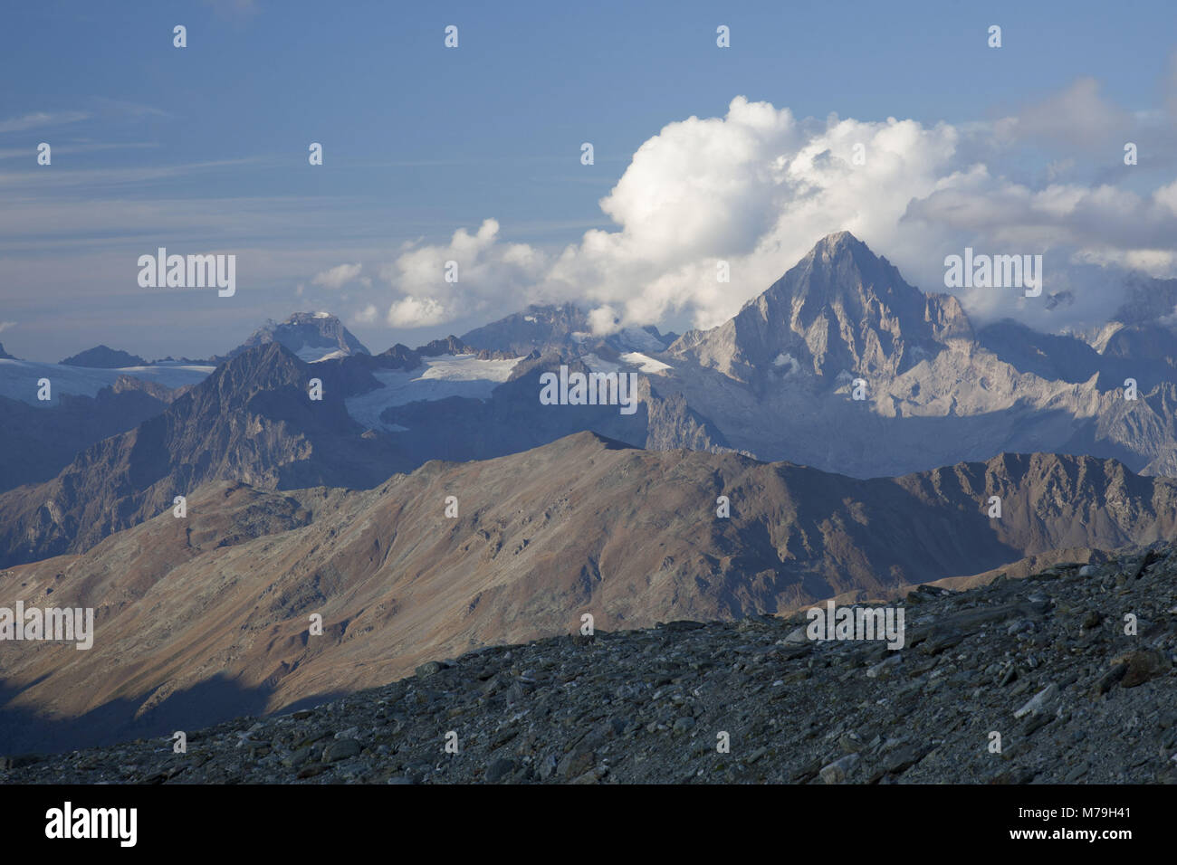 Bietschhorn with the Bernese Alps of the south, Switzerland, - Stock Image