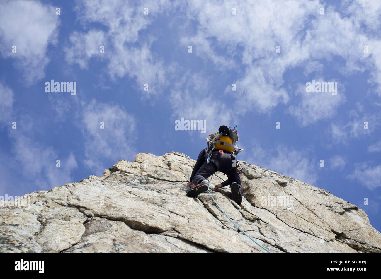 Climbing scene in the Stockhorn south ridge, canton Valais, Switzerland, - Stock Image