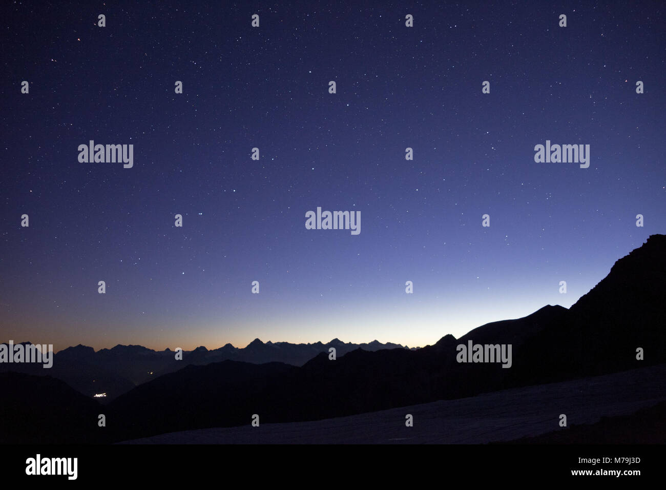 Bietschhorn with the Bernese Alps of the south, dusk, Switzerland, - Stock Image