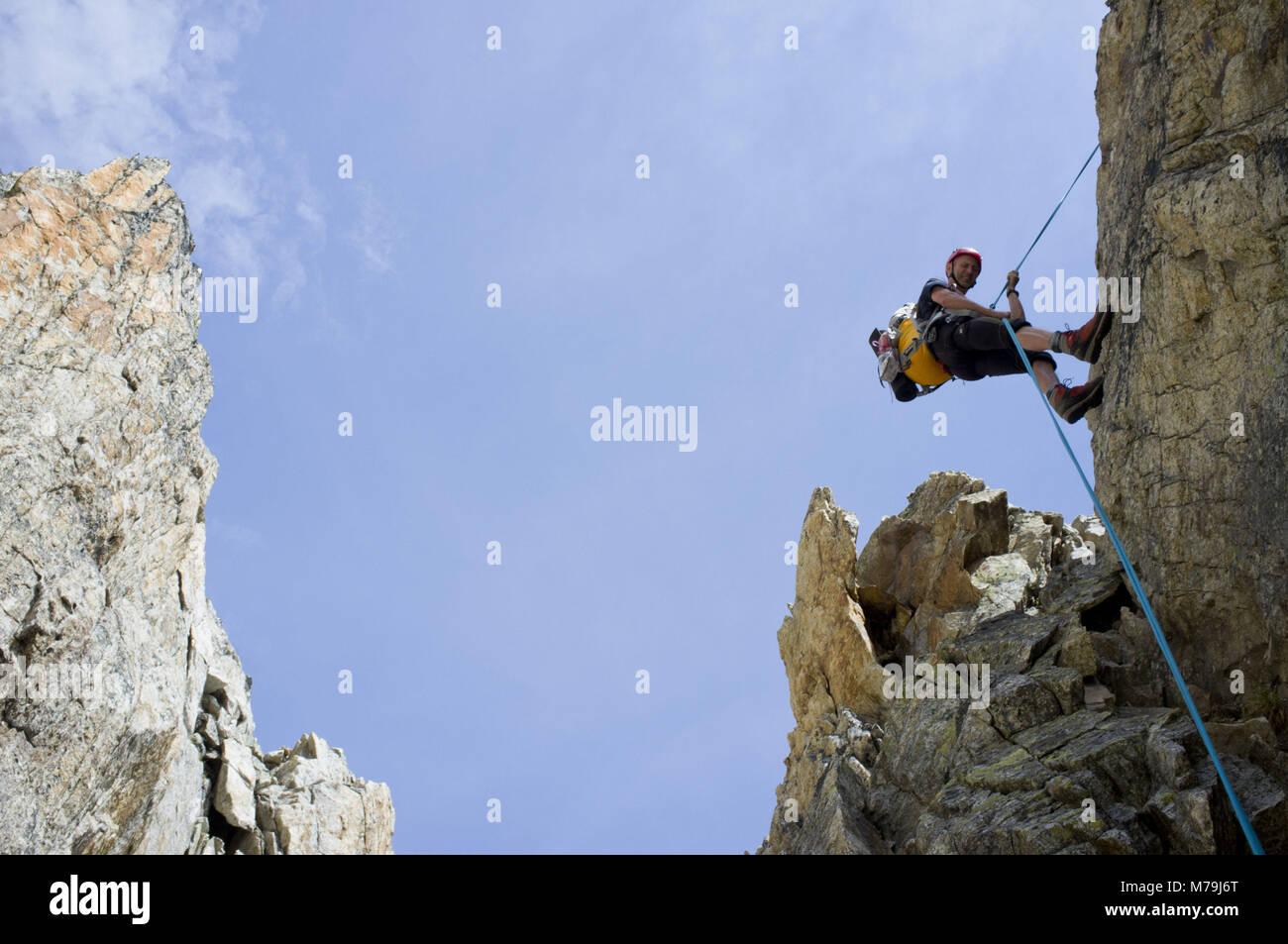 Way down from Stockhorn south ridge, canton Valais, Switzerland, - Stock Image