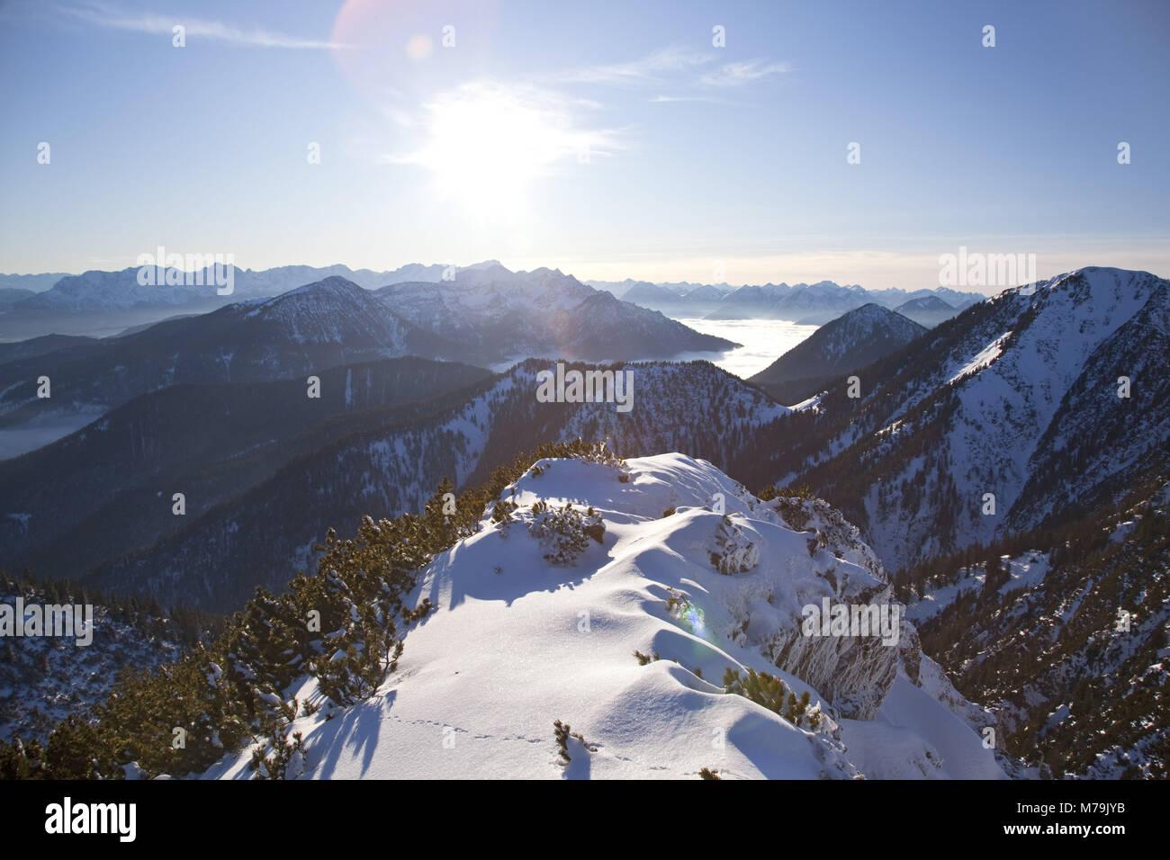 View from Herzogstand to Heimgarten, Bavarian pre-alpine, Alpine foreland, alps, Bavarian uplands, Upper Bavaria, - Stock Image