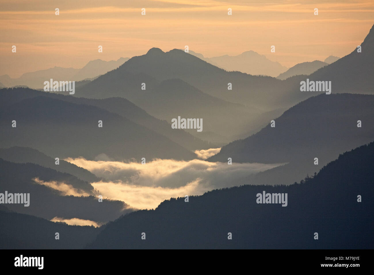 View of the 'Herzogstand' to Tyrol, Schneidjoch, Bavarian pre-alpine, Alpine foreland, alps, Bavarian uplands, - Stock Image