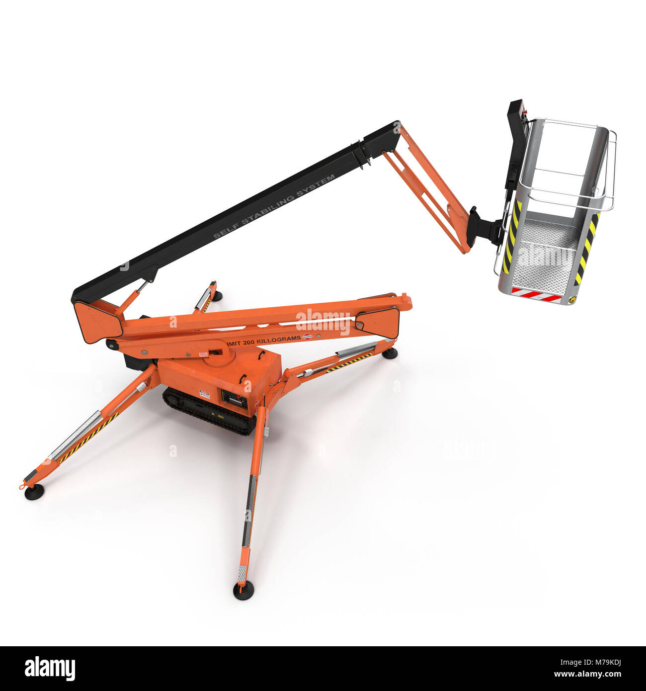 large orange extended scissor lift platform on white