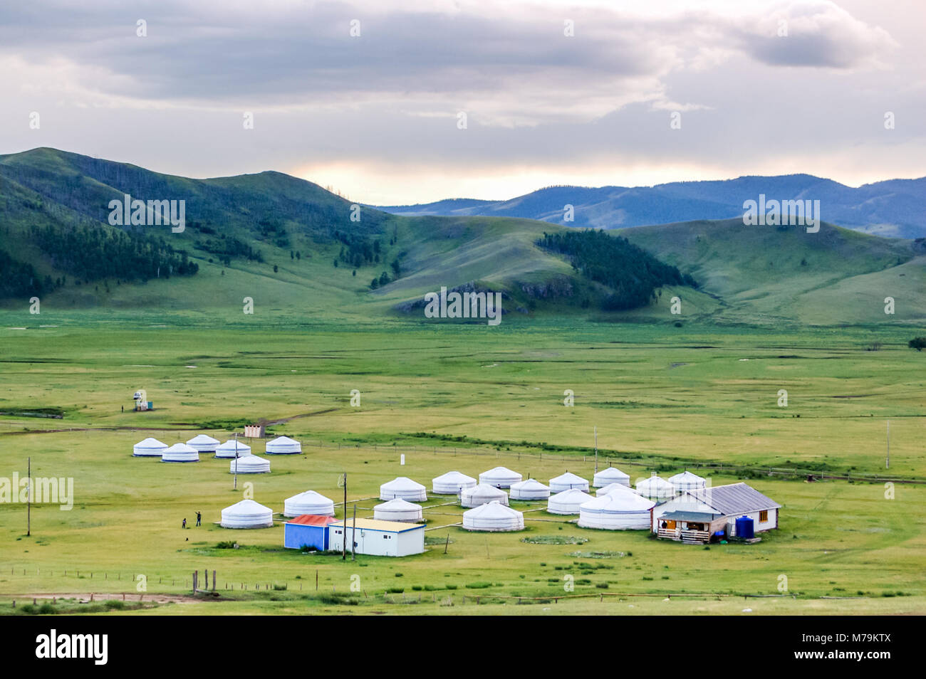 Mongolian yurts called gers on central Mongolian steppe - Stock Image
