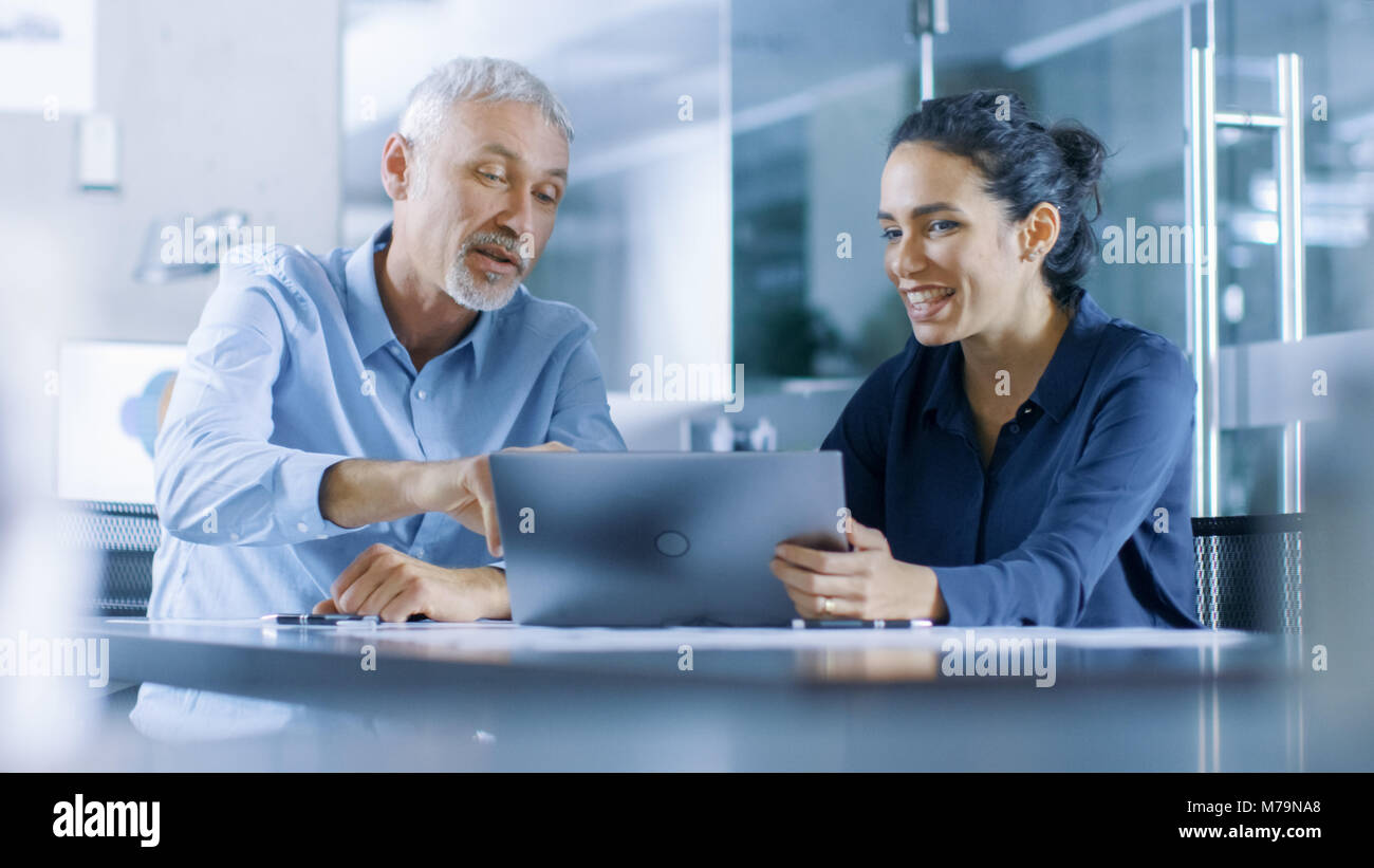 Experienced Male and Female Office Workers Discuss ongoing Project while Working on a Laptop. - Stock Image