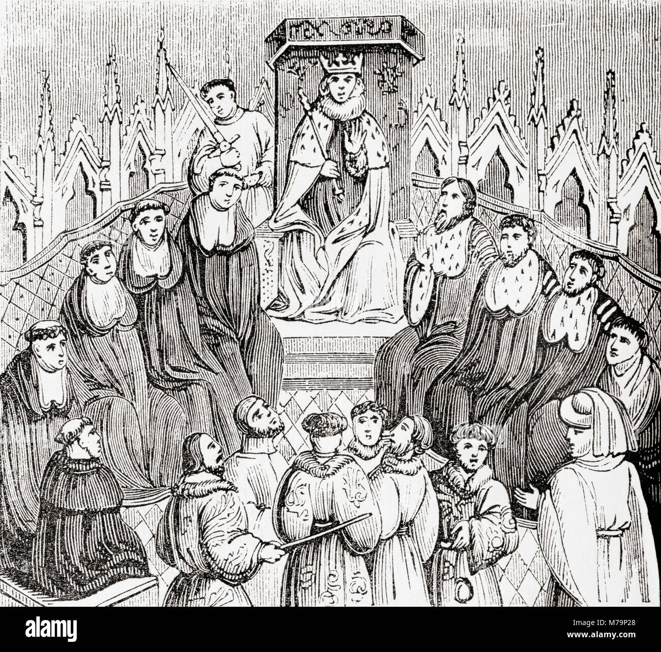 A king in medieval times with his privy council.  From Old England: A Pictorial Museum, published 1847. - Stock Image