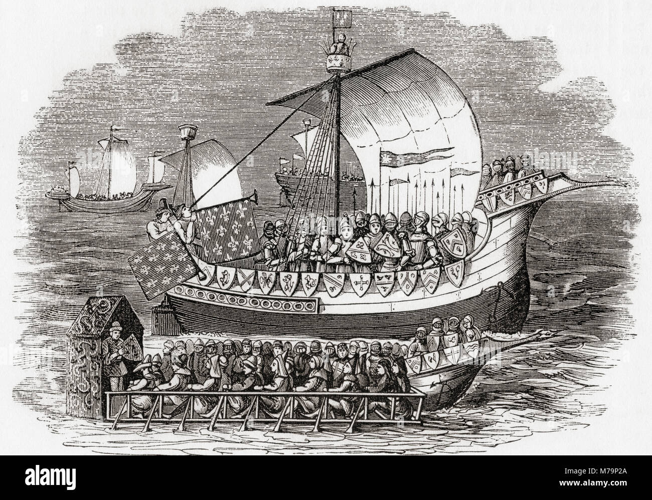 English ships of war from the 15th century.  From Old England: A Pictorial Museum, published 1847. - Stock Image
