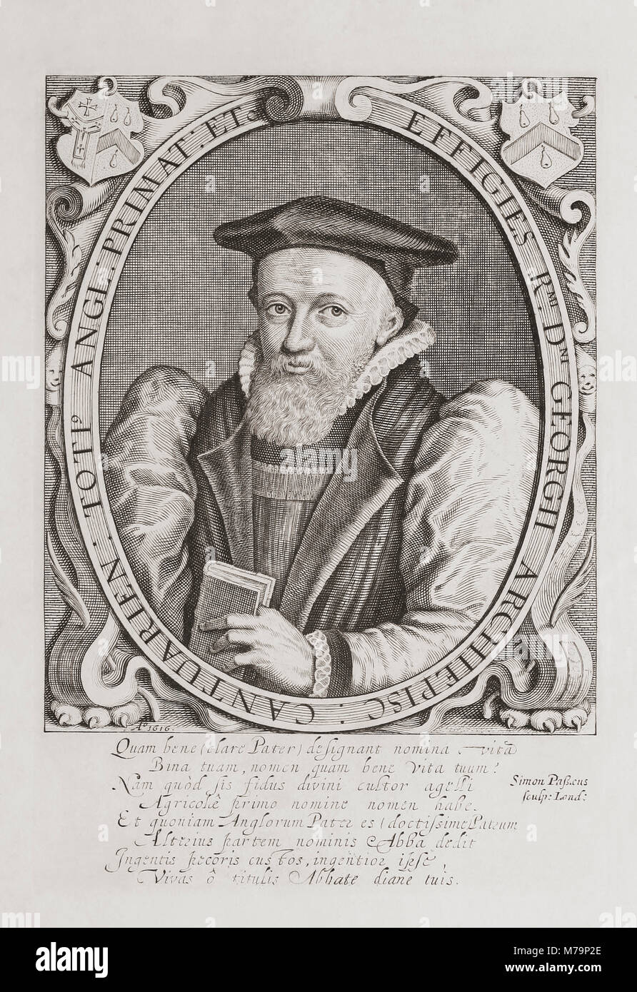 George Abbot, 1562–1633.  Anglican divine.  Master of University College, Oxford from 1597, Dean of Winchester from - Stock Image