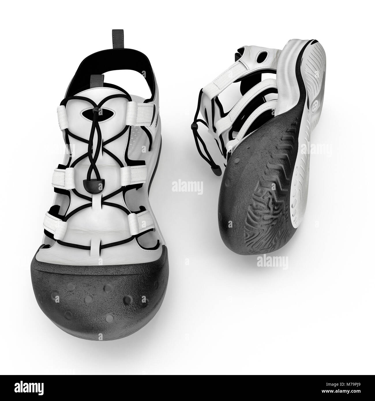 Summer sneakers isolated on white background. 3D illustration - Stock Image