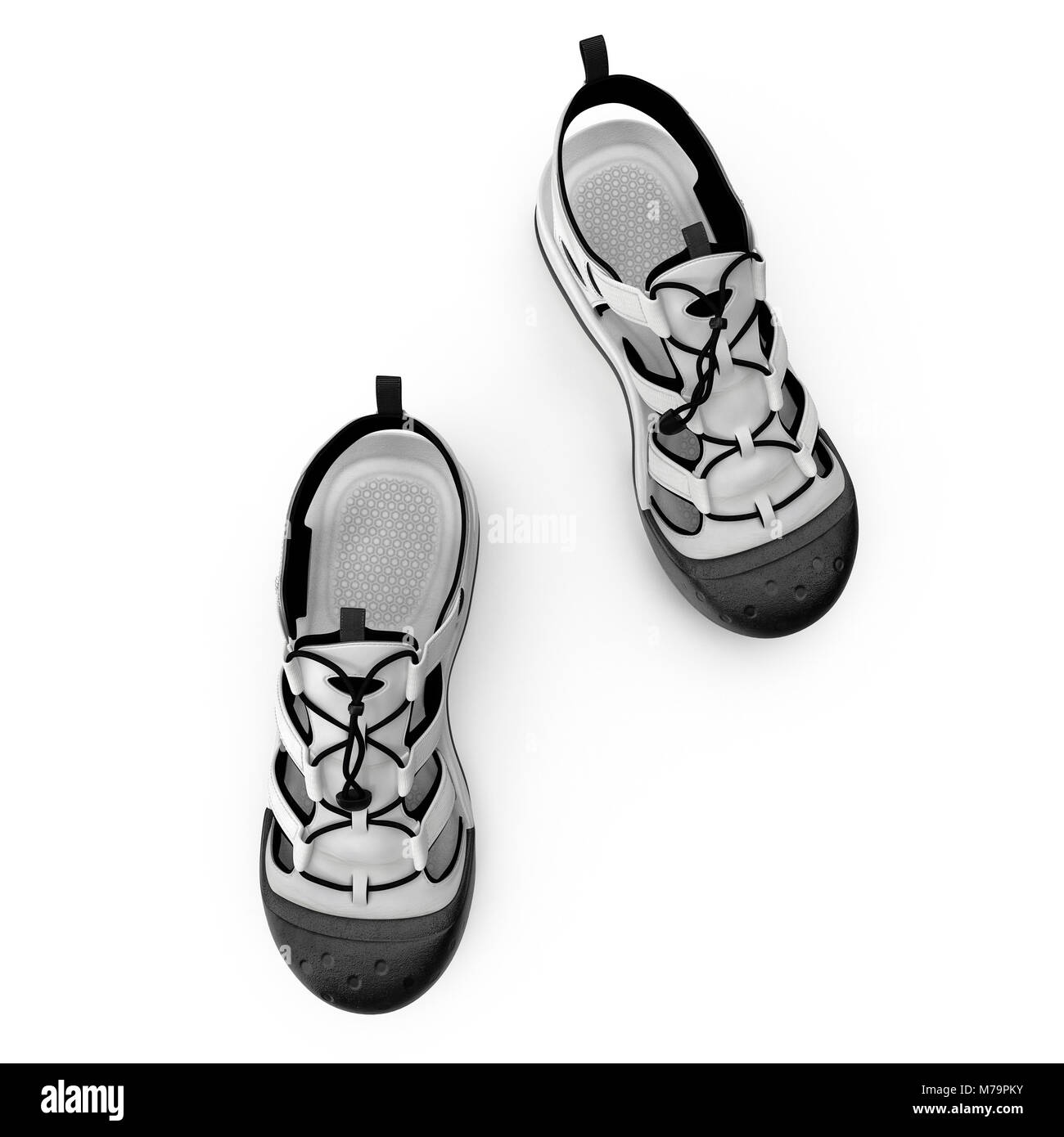 Outdoor summer sandal isolated on white background. Top view. 3D illustration - Stock Image