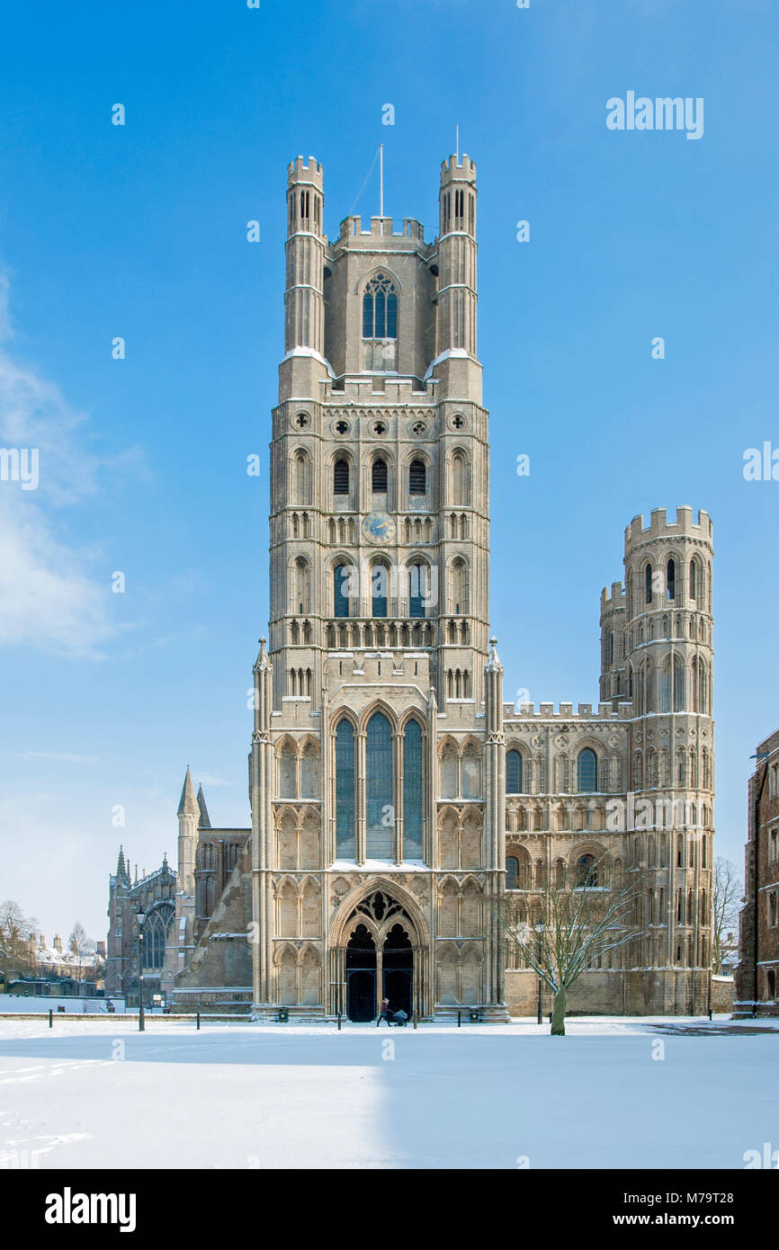 View of the west front of Ely Cathedral in the snow, Ely, Cambridgeshire, England Stock Photo