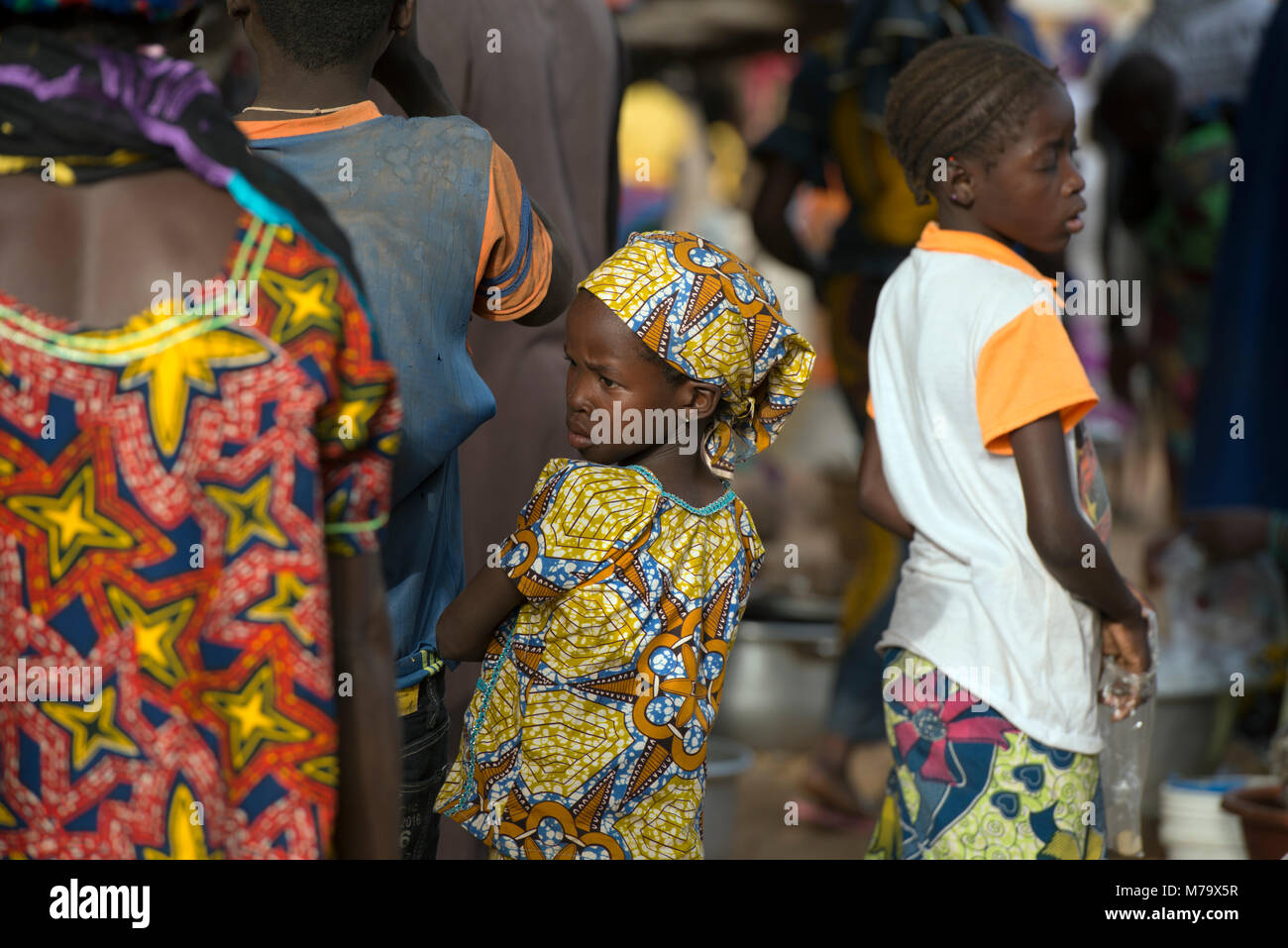 Market day in a small Dogon village. Dogon country, Mali, West Africa. - Stock Image