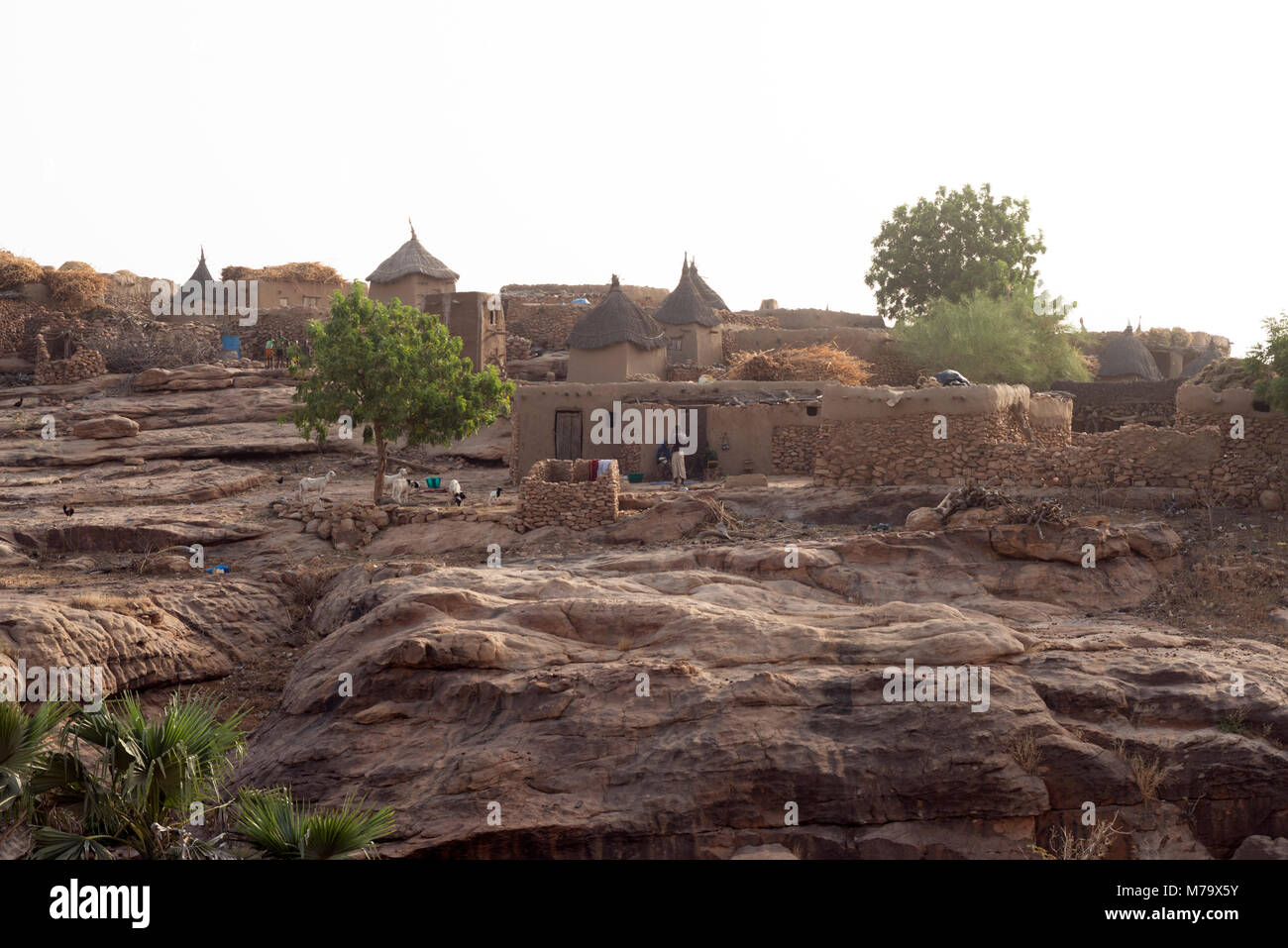 A typical clifftop village in Dogon country, Mali, West Africa - Stock Image