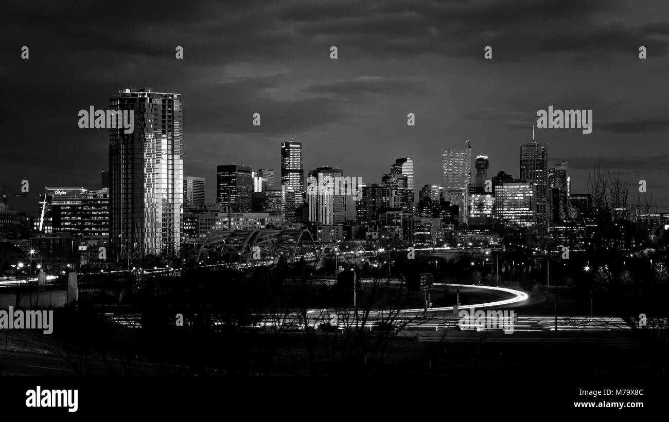 Denver downtown skyline at night, Colorado, USA - Stock Image