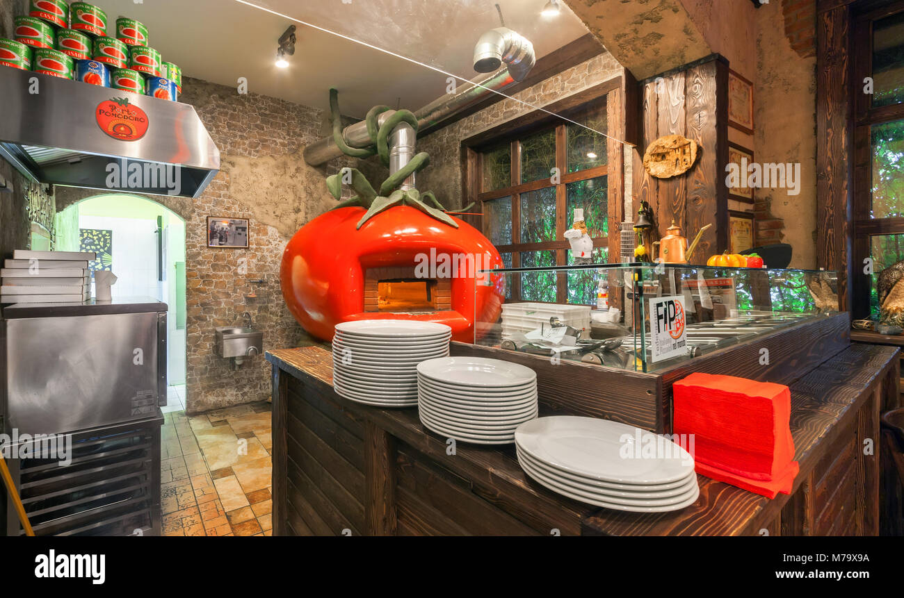 Moscow August 2014 The Interior Italian Pizzeria Porto Pomodoro