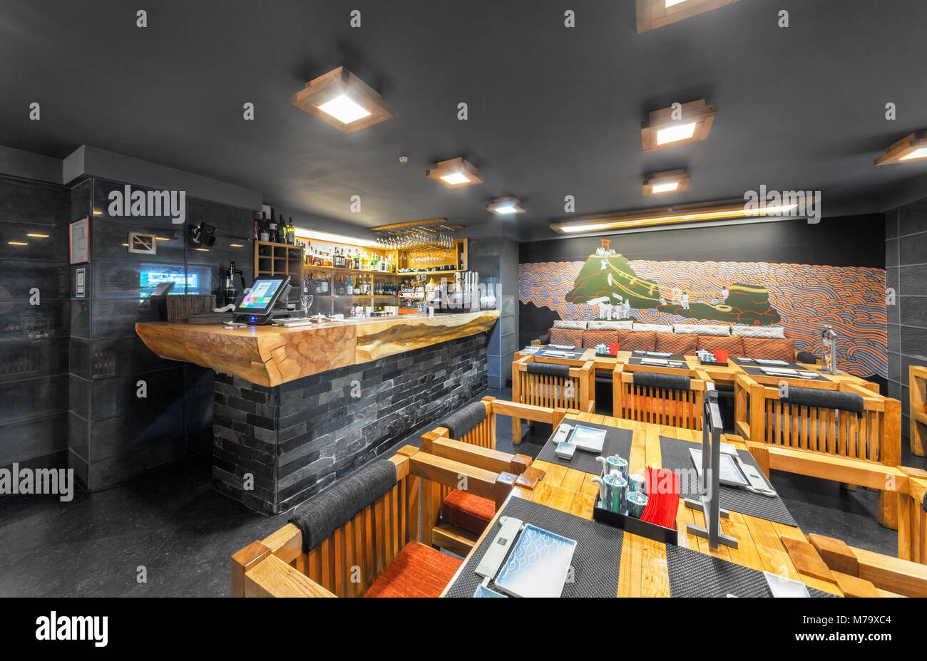 Moscow August 2014 Interior Of The Japanese Restaurant Seiji In Stock Photo Alamy