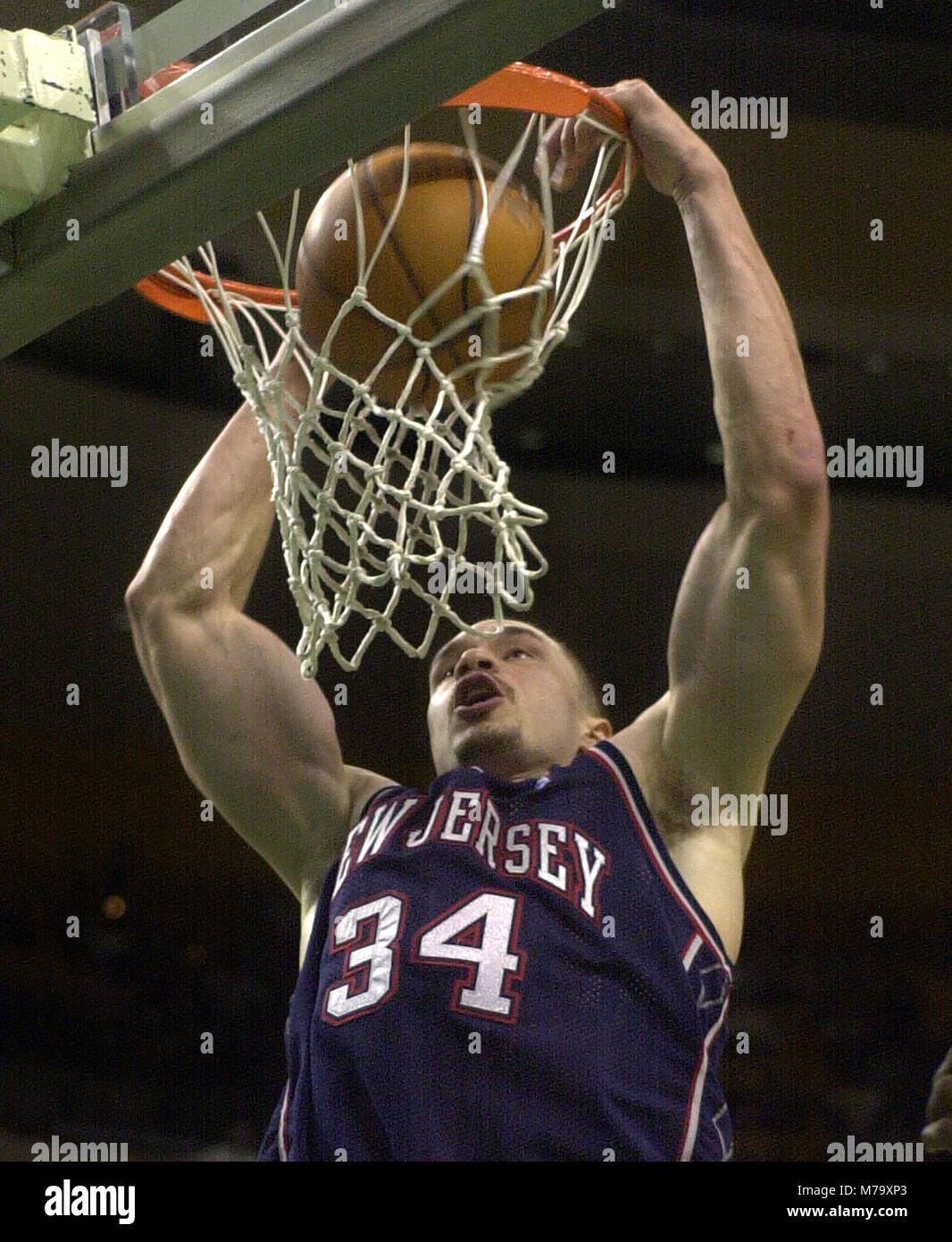 New Jersey Nets #34 Aaron Williams dunks the ball in game action ...