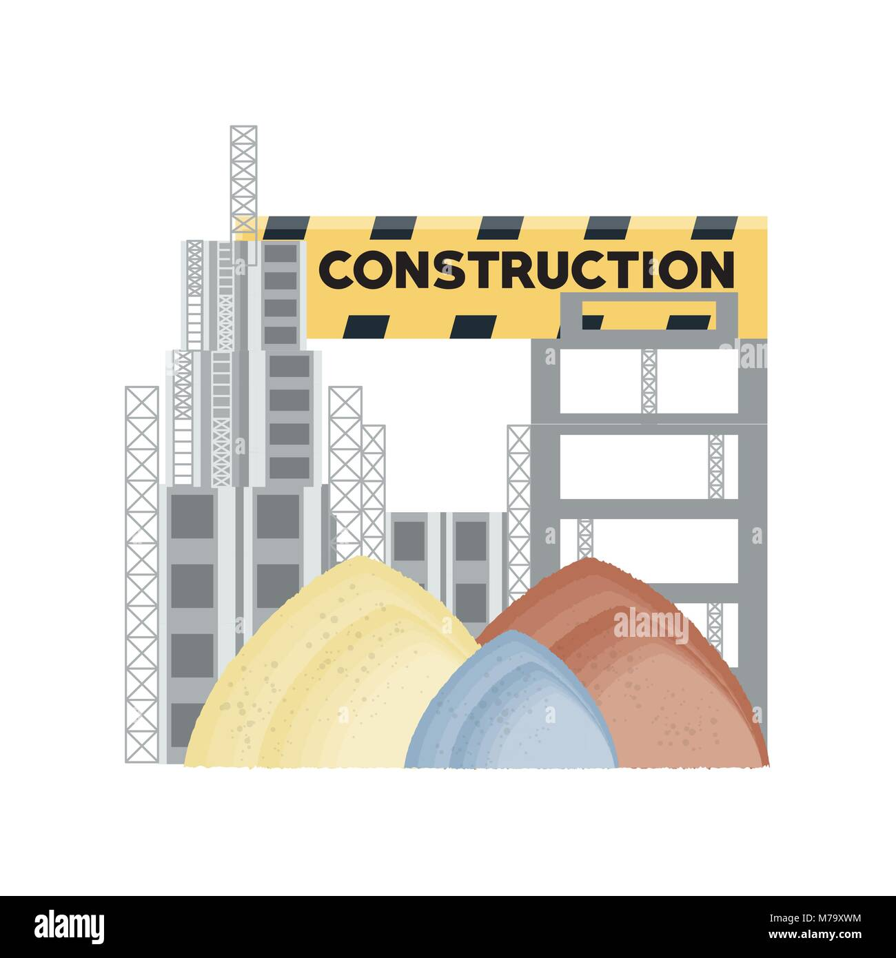 Construction zone with pile of sands over white background, colorful design vector illustration - Stock Image