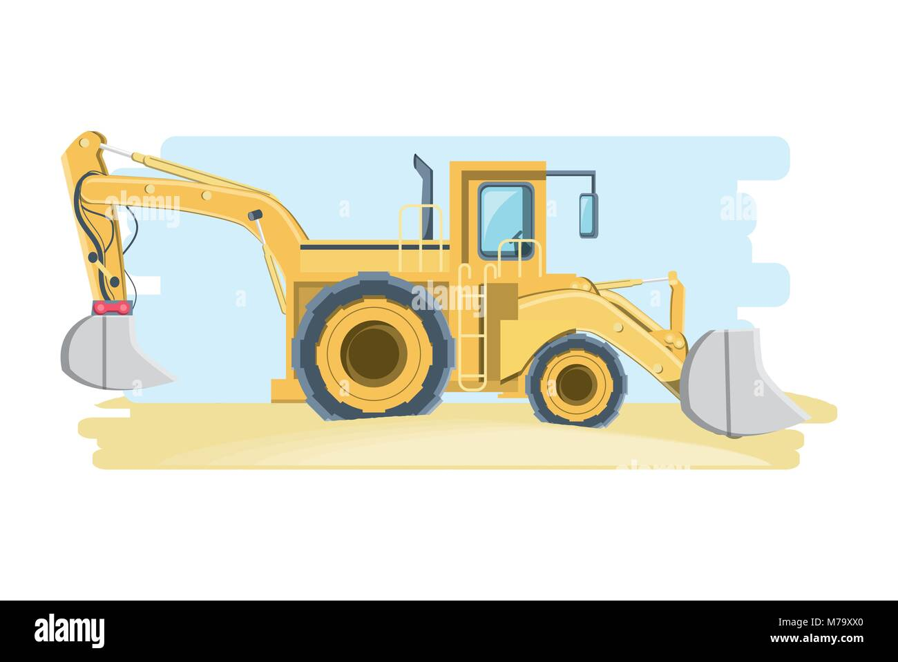 Construction Front And Backhoe Loader Truck Over White Background Colorful Design Vector Illustration