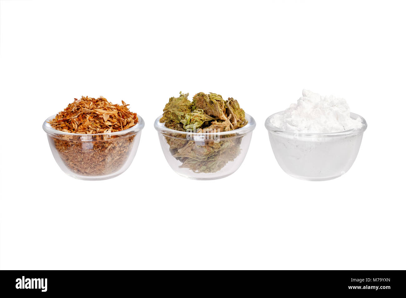 Three plates with modern drug on a white background - Stock Image