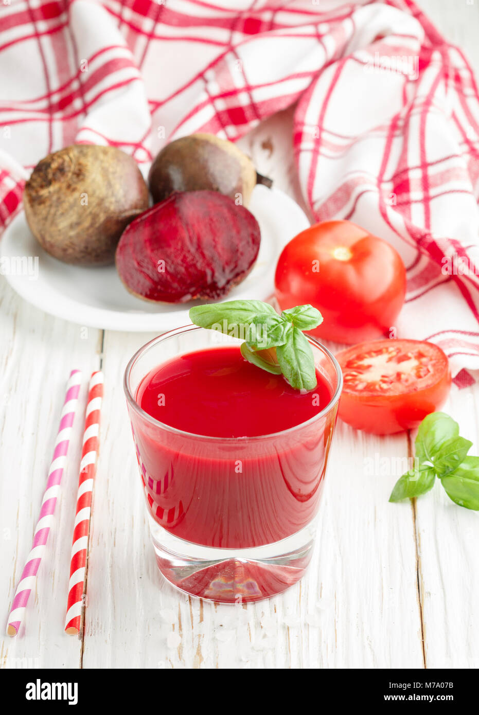 Detox beet smoothie with tomatoes and Basil. Selective focus Stock Photo