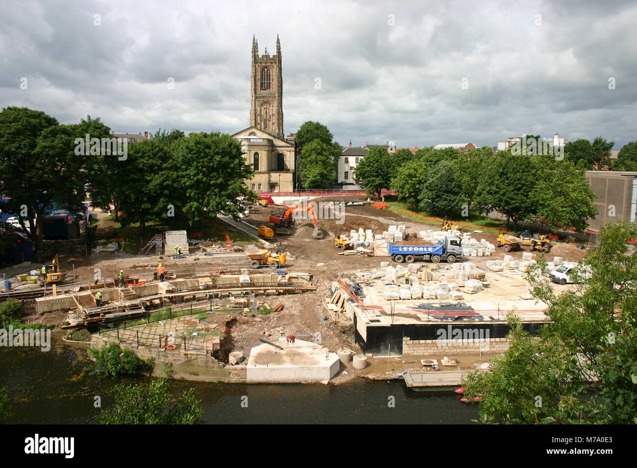 The construction of a new public space, Cathedral Green, Derby, UK - Stock Image