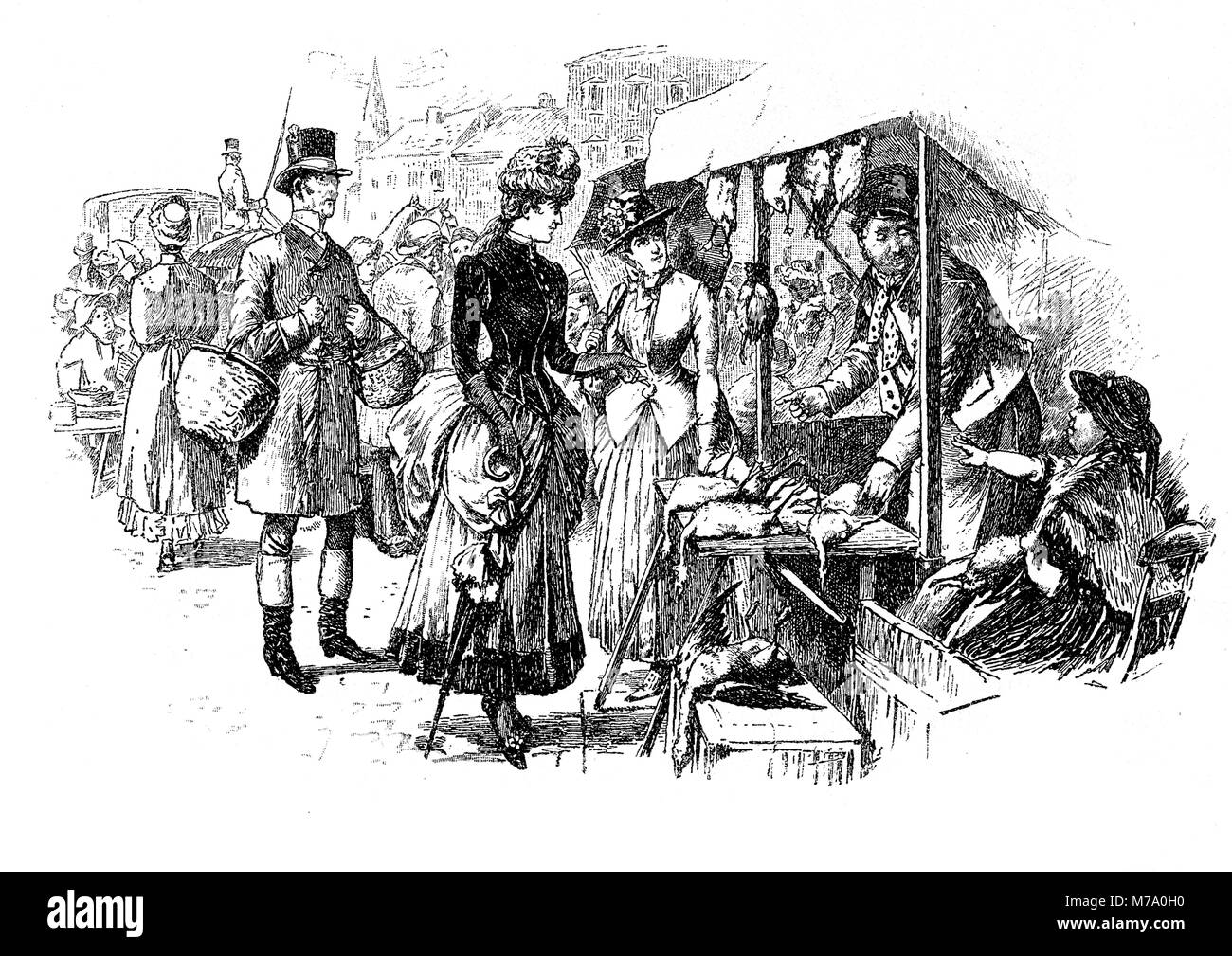 Lady goes shopping at market and negotiates a bargain,vintage caricature and fun - Stock Image