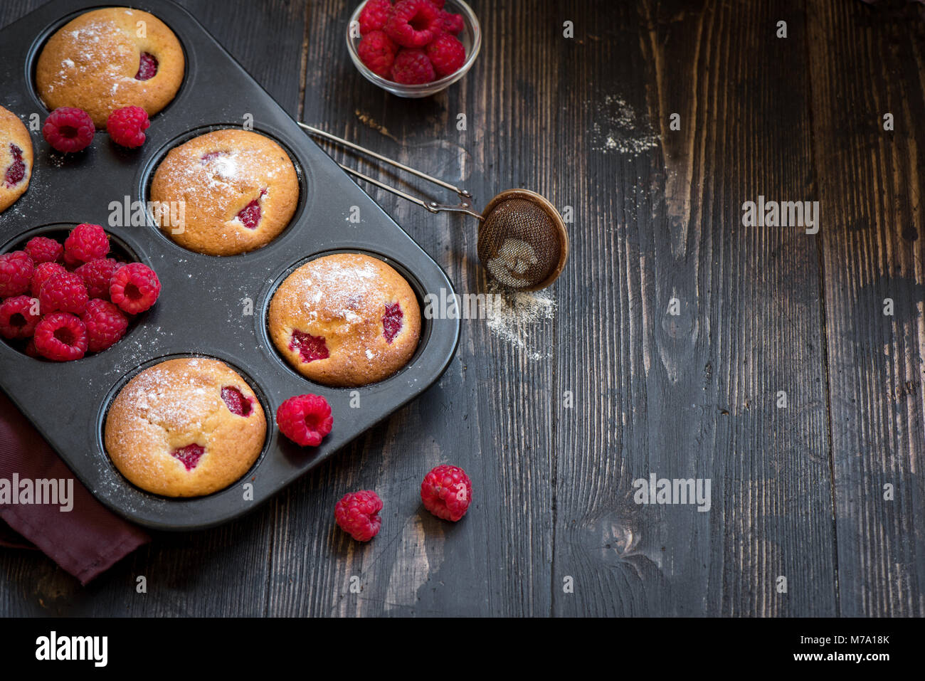 Homemade Raspberry Muffins. Healthy Berry Muffins for Breakfast. - Stock Image